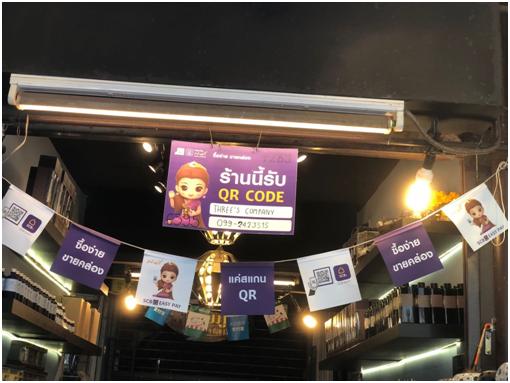 图为曼谷跳蚤市场的汇商银行的支付广告
